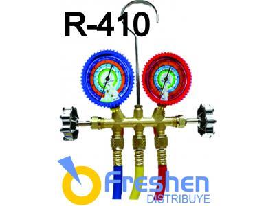 Manifold para R-410 cuerpo de bronce y mangueras